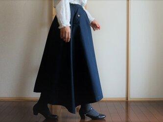 新色*ネイビー*チノクロス*ポケット付きフレアースカート*綿*裏地付きの画像
