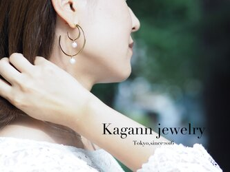 【受注制作】DOUBLE MOON hoop earrings〈pearl〉の画像
