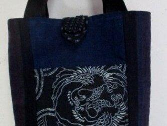送料無料 型染めと男絣で作った手提げ袋 3761の画像