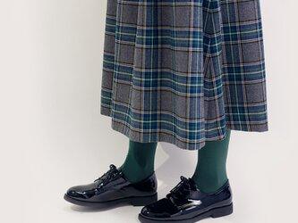 年間OK! グレー×緑×紺 タータン ポリレーヨン ロングスカート ●DORRA●の画像