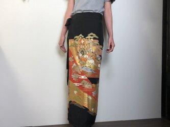 着物リメイク 留袖 ロング丈巻きスカートの画像
