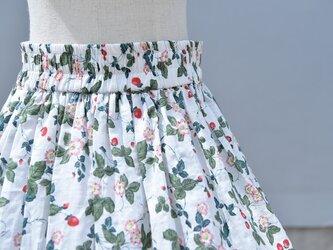【受注製作】天然素材で製作したロングスカート 花果柄 綿麻の画像