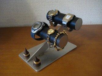 誕生日プレゼントに ブラック4本掛け腕時計スタンド ダブル木製リングスタンドの画像