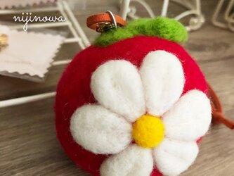 ふわふわまんまるApple/Flower ストラップ・バッグチャームの画像