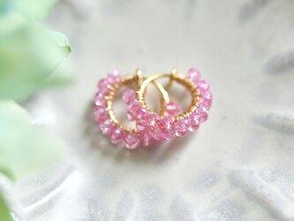桜色のピアス ピンク色トパーズの2連フープイヤリング 11月誕生石の画像