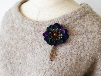 染め花・ヘアクリップ付きブローチ(ブルー×パープル×グリーン)の画像