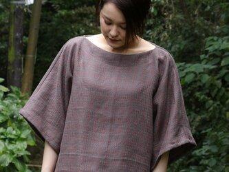 綿麻チェック織りカバーオールの画像