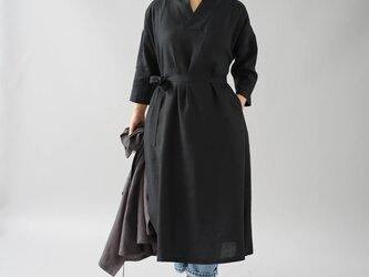 【wafu】中厚 リネン ワンピース 着物襟 ドルマンスリーブ 和装 九分袖/ブラック a084a-bck2の画像