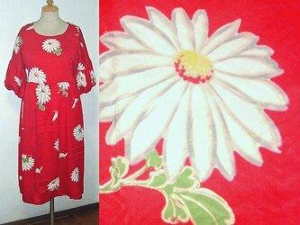 Sold Out着物リメイク♪白い菊の花が可愛いい着物ワンピース♪ハンドメイド♪秋♪正絹・花柄・バルーン袖の画像