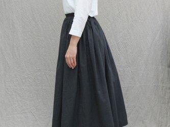 【受注製作】トップ染めギャザーロングスカート/chacoal grayの画像