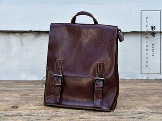 【受注製作】機能性抜群 高級牛革リュックサック 2wayバッグ 茶褐色 TW893の画像