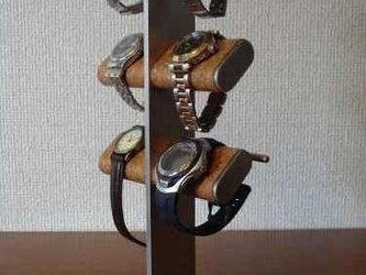 誕生日プレゼントに 6本掛け腕時計&革バンド時計タワースタンドの画像