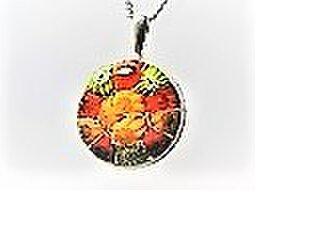 【ガラス】トップ・ミルフィオリ花・円〇SV枠・橙サークルの画像