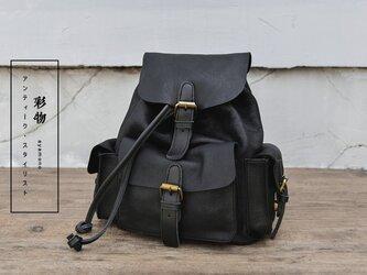 【受注製作】本革の収納たっぷり ポケット豊富なリュックサック バッグ かばん GR3789の画像