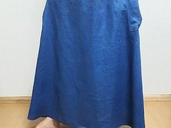 育てるリネン インディゴ染めヘリンボーン ギャザースカートの画像