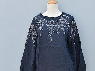 【受注製作】綿麻刺繍入り!可愛綿麻製トップス・ブラウスCX90 ブルーの画像