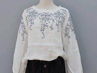 【受注製作】綿麻刺繍入り!可愛綿麻製トップス・ブラウスCX90 白の画像