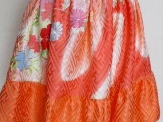 送料無料 花柄の振袖で作ったミニスカート 3766の画像