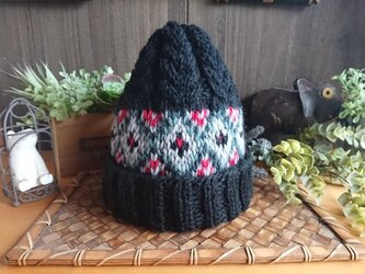 【受注制作】レトロ模様の編込み帽子の画像
