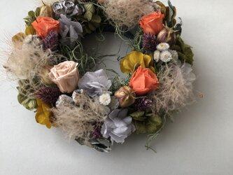 autumn スモークツリーと紫陽花のリース【オレンジ】の画像
