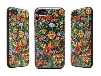 《Exotic Flower》エキゾチックフラワー  iPhone7/8用(4.7インチ) レザーケースフルカバー(ブラック)の画像