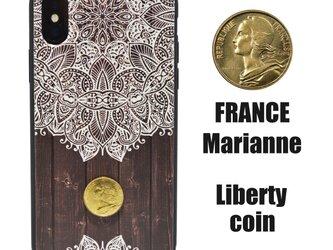 《Marianne》メヘンディ&フランスヴィンテージコイン  iPhoneX / iPhone10 レザーケースフルカバーの画像