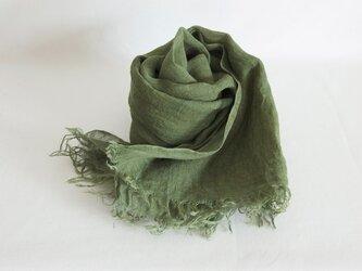 草木染め 柔らかリネンガーゼのストール <モスグリーン>の画像