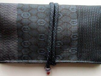 送料無料 藍大島紬で作った和風財布・ポーチ 3770の画像