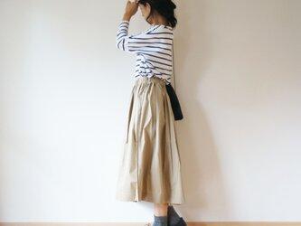 Cotton typewriter tuck skirt LADY'S size BEIGEの画像