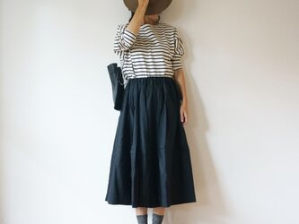 French Linen tuck skirt LADY'S BLACKの画像