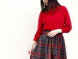 秋冬 ウール グレー×赤×青×緑 タータンチェック ロングスカート ●MICHELE●の画像