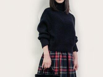 秋冬 ウール 黒×赤×青×緑 タータンチェック ロングスカート ●CHELSEA●の画像