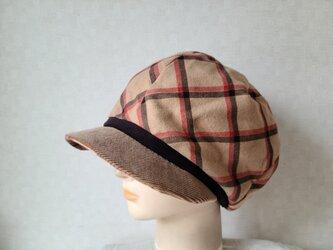 魅せる帽子☆ふんわり♪ネルプリントのキャスケット~キャメルの画像
