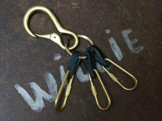 キーリングDARUMA真鍮製×イタリア革#BLKの画像