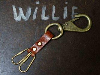 キーリングヨットナスカン金具真鍮製×国産ヌメ革キーホルダー#キャメルブラウンの画像