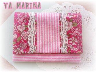2つ折りティッシュケース ピンク×花柄の画像