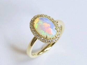 【1点物リング】Opal 1.06ct / Diamond 0.21ct / k18 -「オパール&ダイヤモンドリング」の画像