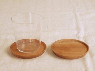 2枚セット 木製コースター 栃材3 丸型の画像