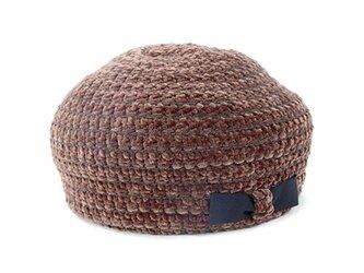 毛糸なのにもちもち?デッドストックモール糸のベレー帽 ブラウン(18AWS-010)の画像