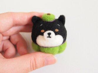 【受注製作】まゆ黒柴犬のハロウィンコスプレ 羊毛フェルト(アクレーヌ)の画像