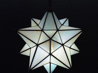星のランプシェード 淡いグリーンとアンバーの画像