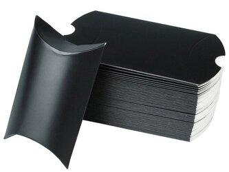 10枚入り ギフトボックス ピローボックス アクセサリー ラッピング用品 【ブラック/黒】の画像