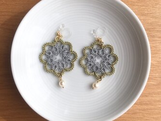 tatting lace earring /pierce【circle】の画像