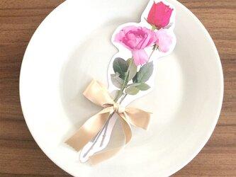 送料無料▶︎約25cm 10枚セット ローズピンク < Elegant lady > 花束のメッセージカードの画像