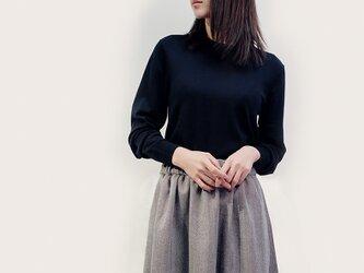 秋冬 ウール 黒×白 ヘリンボーン ロングスカート ●LYLA●の画像