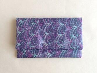 絹手染懐紙入れ(縦波・灰紫緑)の画像
