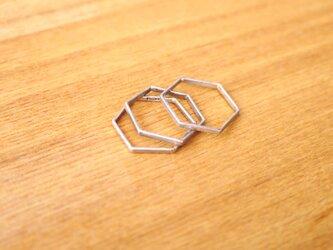 ハニコム形のシルバー3連リングの画像