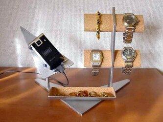 プレゼントに 携帯電話&4本腕時計掛けトレイ付きスタンドの画像