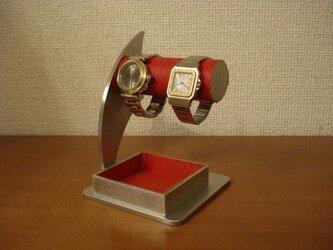 誕生日プレゼントに レッド2本掛けでかいトレイ時計スタンドの画像