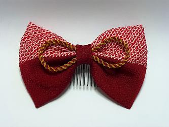赤色ふんわり和装リボンの画像